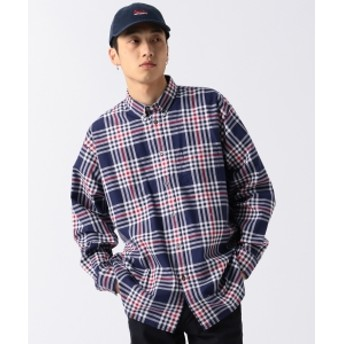 BEAMS / ルーズフィット チェックシャツ メンズ カジュアルシャツ NAVY S
