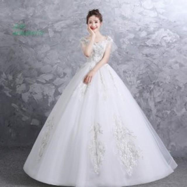 ウェディングドレス 白 格安 レース 結婚式 花嫁 シンプル ロングドレス ブライダル 二次会 パーティードレス 披露宴 プリンセスドレス