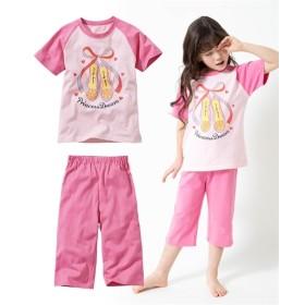 綿100% ラグラン切替えプリント半袖パジャマ(女の子 子供服。ジュニア服) キッズパジャマ