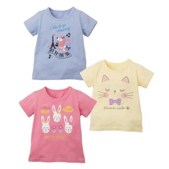 綿100%Tシャツ3枚組(女の子 子供服) Tシャツ・カットソー