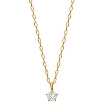 【TAKE-UP:アクセサリー】5ツメスター一粒ダイヤモンドネックレス( K18YG)