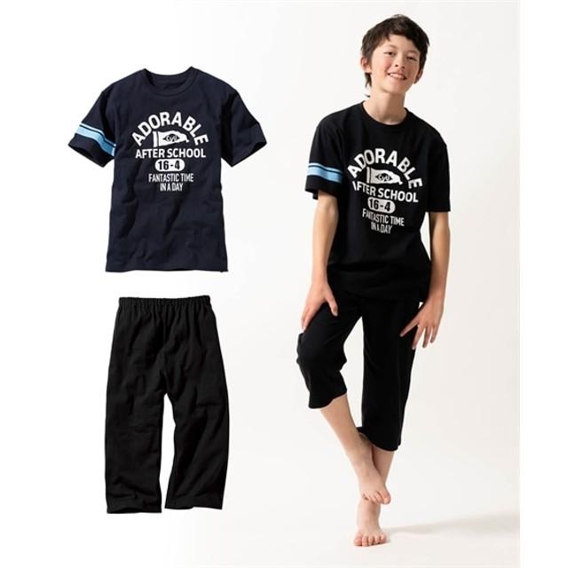 綿100% 袖ラインアメカジプリント半袖パジャマ(男の子 子供服。ジュニア服) キッズパジャマ