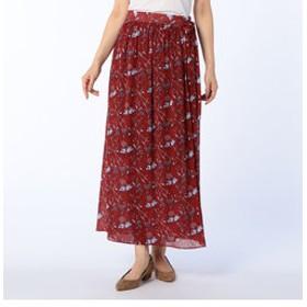 【NOLLEY'S:スカート】楊柳プリントラップスカート