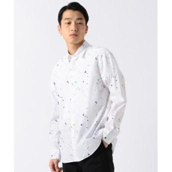 BEAMS / スプラッシュプリント ミニレギュラーシャツ メンズ カジュアルシャツ WHITE M