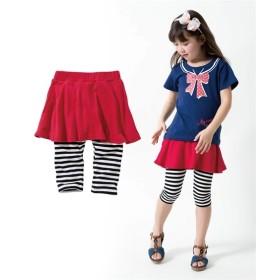 ポケット付6分丈フレアスカッツ(女の子 子供服。ジュニア服) (スカート付パンツ)