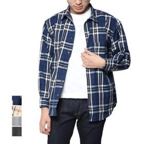 シャツ - Style Block MEN シャツ チェック柄シャツ 長袖 カジュアルシャツ ビッグシルエット 大きめ オーバーサイズ トップス メンズ ネイビー ホワイトブラック ベージュ 春先行