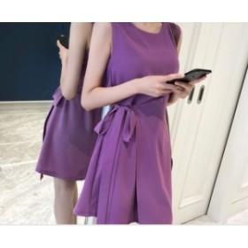 ワンピース パープル 紫 ノースリーブ ラップ シフォン リボン ベルト シンプル 無地 フレア きれいめ フェミニン お呼ばれ