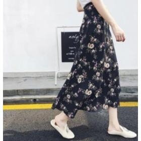 ハイウエストロングシフォンスカート(ブラック菊) かわいい カジュアル OL 20代 30代 デート服 女子会