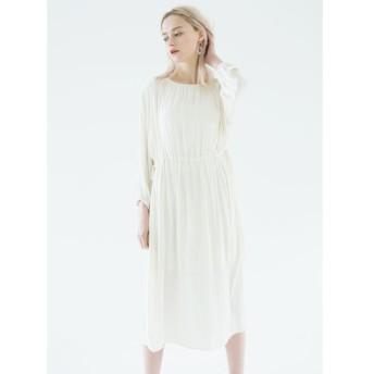 【50%OFF】 ミエリインヴァリアント Moist Touch Gather Dress レディース ホワイト F(フリーサイズ) 【MIELIINVARIANT】 【セール開催中】