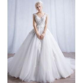 ウェディングドレス 人気 優雅 パーティー ロングトレーン フェミニン 上品 結婚式 披露宴 演奏会 撮影用 編み上げ 結婚式 結婚式二次会