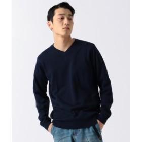 BEAMS / アクリル コットン Vネック ニット メンズ ニット・セーター NAVY L
