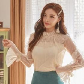 フリル ネックとキャンディスリーブが可愛い!透け感がフェミニン レイヤードスタイルに c冬 ワンピース 韓国