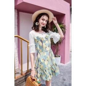 花柄 フリル シフォンワンピース(ブルー) 上品 大人 かわいい お呼ばれ 女子会 きれいめ デート服 20代 30代