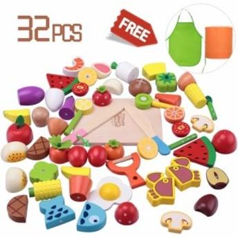 幼児 知育玩具 木製 おままごとセット 32パーツ おまけ付き