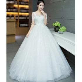 ドレス チュールスカートドレス ロングシースルー レース 結婚式 二次会 パーティー お呼ばれ 発表会 ウエディング