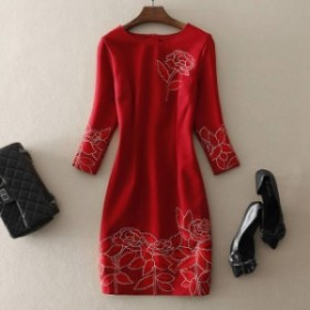 ドレス 新作ドレス スリムワンピースドレス 大きな花の刺繍 ドラマチック ミモレ丈 ラウンドネックライン 長袖 結婚式