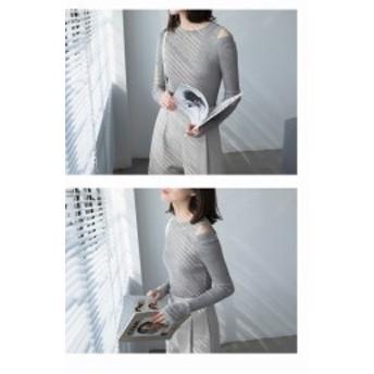 セーター ショルダースリットデザイン ラウンドネックセーター