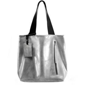 INSTYLE BAGS ニュートラルトートバッグ-ユニセックス-メタリックシルバー/ブラック