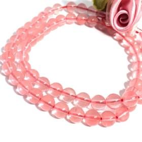 ・【穴有】 桜ん坊glass チェリークォーツ(人工)丸珠 6mm20個