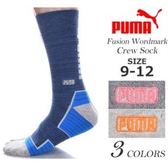 プーマ Puma ソックス 靴下 ゴルフウェア メンズ おしゃれ ゴルフメンズウェア フュージョン ワードマーク クルー ソックス USA直輸入