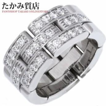 カルティエ Cartier K18WG ダイヤ28P マイヨンパンテールリング 3連ハーフパヴェダイヤ 指輪(リング)(B41272) #47(6.5号)