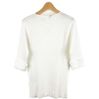ニット・セーター - Select Shop Candy 2way 五分袖 針抜きニット レディース トップス プルオーバー 春夏 折返し袖 サマーニット