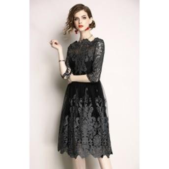 6分袖ひざ丈レースワンピース ブラック 結婚式 ドレス お呼ばれ ワンピース 20代 30代 40代 ワンピースドレス ワンピース 二次会 ドレス