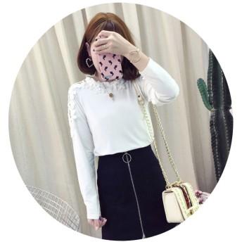 Tシャツ - tiara レディース トップス カットソー レース 肩透け 無地 長袖 オシャレ かわいい 桜 春