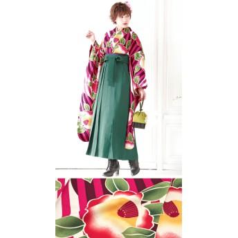着物 - SOUBIEN 袴セット ブランド 玉城ティナ×キスミス 卒業式 赤紫 緑 縞 ストライプ 椿 花 小紋振袖 仕立上がり 着物セット