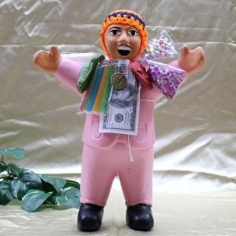 風水グッズ エケコ人形 エケッコ人形(特大)ピンク 風水古銭付 ペルー産 エケッコ人形 仰天ニュース 幸せを呼ぶ 置物