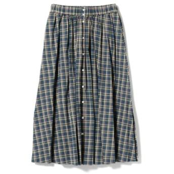 <WOMEN>GYMPHLEX / マドラスチェック ギャザーロングスカート レディース マキシ・ロング丈スカート - 14