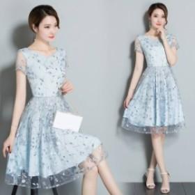 ドレス 花柄刺繍  エレガント フレアドレス