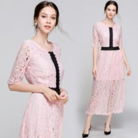 新品 レディース パーティドレス 人気 レース 大きいサイズ ピンク 刺繍