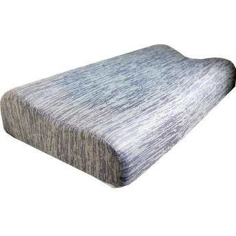 極冷感 ダブルクールピロー ウェーブ型低反発枕 ネイビー 約30X50X7-10cm iiもの本舗