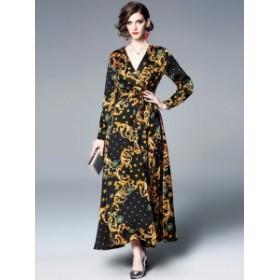 マキシ丈 巻きスカート ドレス ワンピース ネオクラシック*韓国新作*