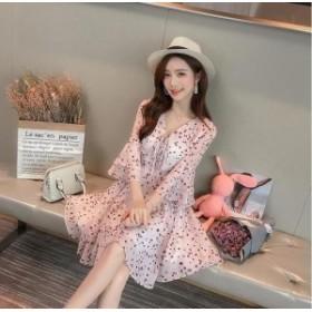 花柄フレアスリーブワンピース(ピンク) 上品 大人 かわいい お呼ばれ 女子会 カジュアル 七分袖 20代 30代