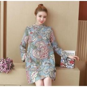 レトロ花柄ハイネックドレス(ライトブルー) レトロガール 女子会 パーティー お呼ばれ 20代 30代