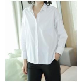 シャツ     シンプルホワイトYシャツ コットン100% きれいめ オフィス クール 通勤・通学