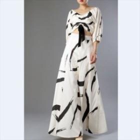 スカート トレンド 売れ筋 セットアップ ドレス  2ピース Aライン Vネック リボン 7分袖 シック レトロ ハイウェスト