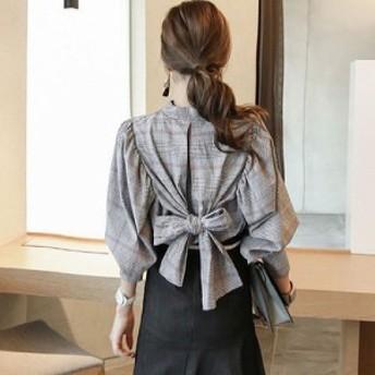 ブラウス バックリボン 可愛い スタンドカラー ボリューム袖 グレーチェック フロントボタン 個性的 格子柄
