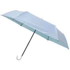 ビューティーシールド 晴雨兼用 一級遮光折りたたみ傘 スパークル・スタープリント サックスブルー