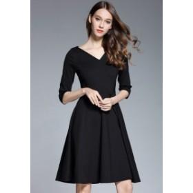 半袖Vネックひざ上丈無地ワンピース ブラック 結婚式 ドレス お呼ばれ ワンピース 20代 30代 40代 ワンピースドレス ワンピース 二次会