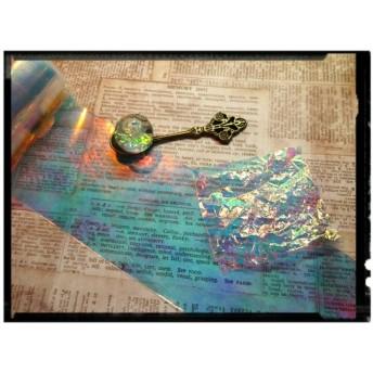 キラキラ☆オーロラフィルムセロファン★ブルーケースなし/レジン/ガラスドーム/ガラスの破片ネイルアート/ステンドグラスネイル/5cm×120cm