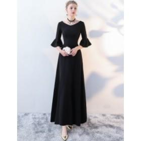5分袖ロング丈マキシ丈シンプル無地ワンピース ブラック 結婚式 ドレス お呼ばれ ワンピース 20代 30代 40代 ワンピースドレス マキシ丈