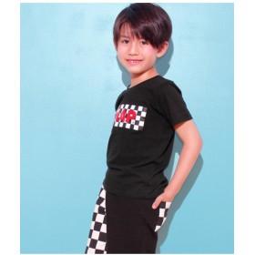 【50%OFF】 アナップキッズ チェッカー柄ロゴTシャツ レディース ブラック 100 【ANAP KIDS】 【セール開催中】