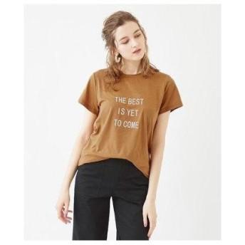 ティティベイト titivate マットラバープリントロゴTシャツ (キャメル/オフホワイト)