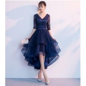 Vネックフィッシュテールワンピースリボン付き ネイビー 結婚式 ドレス お呼ばれ ワンピース 20代 30代 40代 ワンピースドレス ドレス