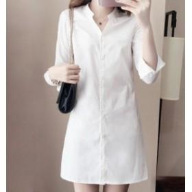 シャツ 白シャツ チュニック丈 ロング丈 シンプル サイズ豊富