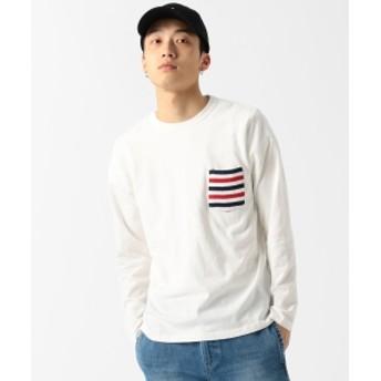 BEAMS / リブポケット クルーネック メンズ Tシャツ WHITE S