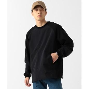 BEAMS / ナイロンスウィッチ クルーネック スウェットシャツ メンズ スウェット BLACK XL
